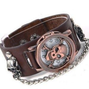 Skull Leather Wrist Watch